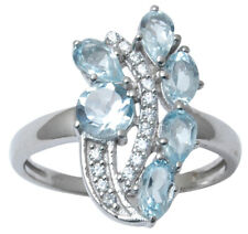 925 Pure Silver Gorgeous Blue Topaz Stone Beautiful Ring Indian Fashion Jewelry