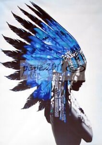 framed canvas print Indian Blue Feather Native American street painting