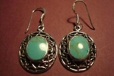Genuine Indian 925 Silver & Gemstone Cabochon  Earrings~Turquoise~S23~uk seller