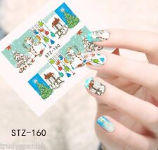 Full Wrap Water Transfers Nail Art Stickers Decals Christmas Tree Snowman (160)