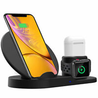 3 in 1 Fast Wireless Charger Apple iPhone 8/8 Plus/Xr/Xs/X/Max Watch Airpods Qi