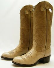 WOMENS VTG TAN TEXAS USA MADE TALL BUCKAROO LEATHER COWBOY WESTERN BOOTS 5.5 M