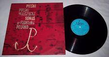 Pieśni Polski Walczącej Songs of Fighting Poland Polish WW II LP record Volume 1