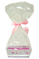 10 x MINI Baby Shower Gift Kit - LITTLE GIRL PINK Cardboard Tray, Cello Bag, Bow