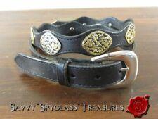 Nocona Mexico Black Leather Gold Washed Concho Ladies Belt Size 36