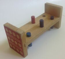 Vintage Tootsietoy Wooden Pound a Wood Peg Work Bench 4 Pegs RARE