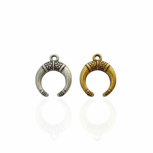 20 x Silver/Gold Tone Crescent Moon Double Horn Charms Pendants Beads 19x15mm