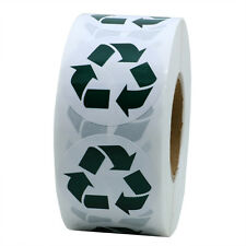 """1.5"""" Recycle Logo Stickers Round Labels with Adhesive 500 Per Roll"""