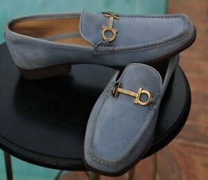 Salvatore Ferragamo  Man's Light  Blue Suede  Loafers shoes Brand size 7.5 D