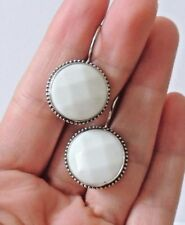 925 STERLING SILVER CHUNKY WHITE MOTHER OF PEARL DROP EARRINGS