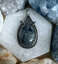 Black moonstone Larvikite necklace oval pendant