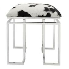"18"" T Stool Unfinished Hair on Hide Cowhide Seat Shiny Stainless Steel Frame"