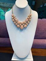 Vintage Peach Faceted Bib Statement Necklace Bohemian Gold 14 Long Plus 2 Inch