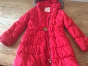 girls coat red 8 9 12i 134cm lovely condition fur hood showerproof