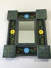 "Mirror Hand Painted Tole Folk Art Tin Floral 15"" Multi-Color"