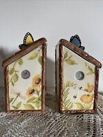 Susan Winget Canister Set Nature's Garden Birdhouses Made For Cracker Barrel