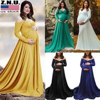 Pregnant Women V Neck Maxi Dress Off Shoulder Long Sleeve Maternity Gown Dress