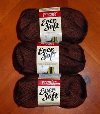 Premier Ever Soft Yarn Lot Of 3 Skeins (Chocolate #70-32) 3 oz.