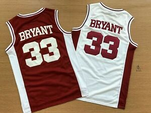Kobe Bryant #33 Lower Merion High School Sewn Men's Basketball Jersey Red White