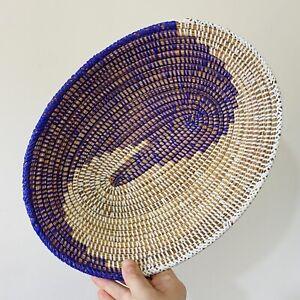 Vintage Woven Coiled Wicker Basket Rattan Fruit Bowl Bread Storage Purple White