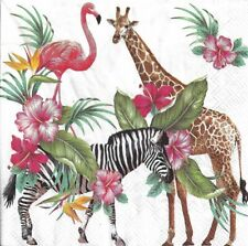 Lot de 4 Serviettes en papier Safari Girafe Zèbre Decoupage Decopatch