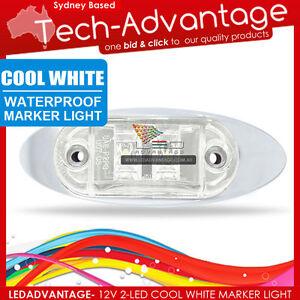 12V CHROME BEZEL SLEEK WHITE WATERPROOF LED MARKER/CLEARANCE/TRAILER/BOAT LIGHT