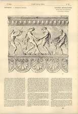 1863 vintagers FREGIO GRECO basso rilievo Doppio Flauto fawns calpestio UVA ART