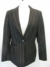 SAKS FIFTH AVENUE COLLECTION Gray Striped Pure Wool Blazer Size 6