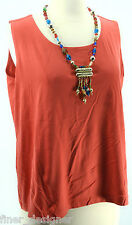Additions by Chicos SIZE 3 L Slinky Shell Tank Top knit light shirt Chico Orange