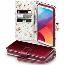 Pu Leather Red Floral Interior Wallet Case Cover For Lg G6