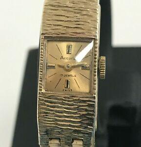 Accurist Watch Unisex Wristwatch 375 9 Carat Gold Bark Effect 17 Jewels 381027