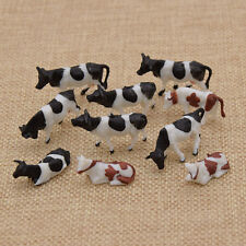 10 Pcs 1:87 Scale Painted Farm Animals Scale Model Cows for Model Railway
