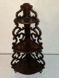 """Vtg Antique Solid Carved Wood Corner Standing or Hanging Shelf 24"""" Tall"""