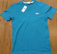Mens Authentic Lacoste Contrast Croc V-Neck T-Shirt Loire Blue 3 Small $60