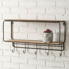 Two-Tier new Rustic Wood Wall Shelf with Five Hooks