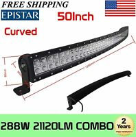 50inch Curved 288W LED Work Light Bar Combo Beam Off Road Truck 4WD Boat SUV DRL
