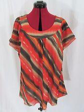 Jones New York Collection Womens Multi Color Print Silk Cap Sleeve Top Size 24W