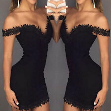 Women's Sexy Strap V Neck Lace Floral Sleeve Bodycon Party Club Mini Dress BGO