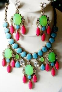 J CREW Color Collage Statement NECKLACE EARRINGS NWT PINK BLUE Green 2 PC SET