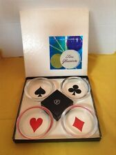Ash Tray / Coasters, Set of 4 Federal Fine Glassware, S-274 Playing Card Suits