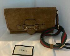 GUCCI Brown Suede Horsebit 1955 Wallet Cross Body Bag Canvas Strap # 4012