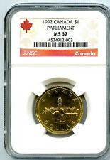 1992 CANADA $1 PARLIAMENT NGC MS67 DOLLAR LOON LOONIE TOP POP RARE ONLY 3 KNOWN