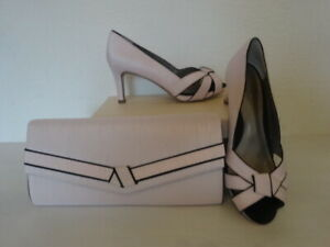 JACQUES VERT PEEP TOE SHOES & MATCHING BAG/PINK WITH BLACK TRIM SIZE 4 -NEW
