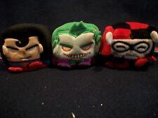 "3 Kawaii Cubes Plush Toys 2.5"" The Joker * Harley Quinn * Superman NEW!"