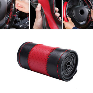 Genuine Leather Auto Steering Wheel Wrap Cover Needles Thread Car Accessory 38cm