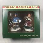 "Village Square Christmas Village Figurines ""Kids with Pets"" 2pc Mervyns 2003"