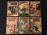 SUPERMAN & ACTION Silver Age lot of 6 comics: #175,224,288,392,393,396 - GD