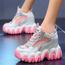 Women Diamonds Platform Wedge Fashion Sneakers High Heel Sport Sandals Boots New