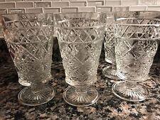 VTG Glasses Dessert Diamond Cut Stem Pedestal Footed 5 1/2 In Drinking Set of 6