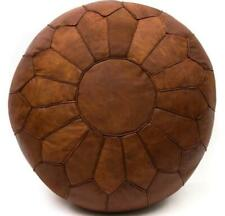 Moroccan Pouf Leather Pouffe Ottoman Genuine Footstool Brown Leather Ottoman